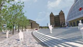 Images showing a new square outside Lime Street station.