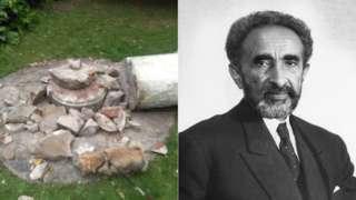 Image composite de morceaux brisés d'une statue de Haile Selassie dans le parc Cannizaro et une photo de Haile Selassie