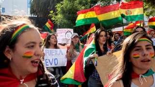 Women protest against Bolivia's President Evo Morales in La Paz, Bolivia, on 3 November