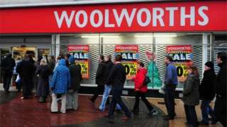 Queues outside Woolworths