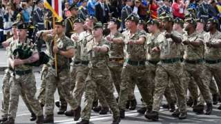 British soldiers on a march during a military parade
