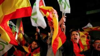 Vox supporters celebrate in Madrid