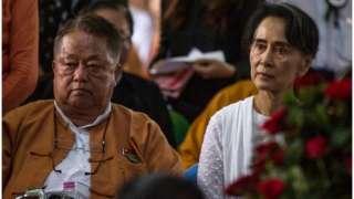 Win Htein (kushoto) ni kiongozi wa juu wa chama cha NLD kinachoongozwa na Aung San Suu Kyi (kulia)