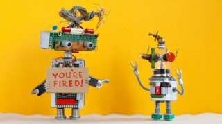 """A robot made of spare parts tells another: """"You're fired"""""""