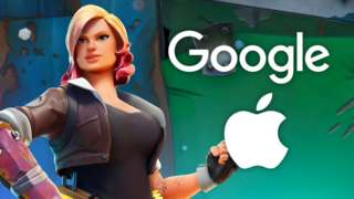 "A Fortnite character with a stance reminiscent of famous wartime icon ""Rosie the Riveter"" stands next to superimposed Google and Apple logos in this image"