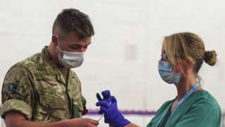Soldier and NHS worker