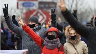 демонстранты в Минске