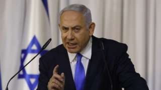Israeli Prime Minister Benjamin Netanyahu delivers a statement after a meeting of the Likud party in the Israeli town of Ramat Gan, east of the coastal city of Tel Aviv,on 21 February 2019