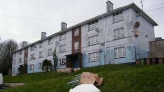 A block of flats in Barne Barton, a former naval estate, in Plymouth