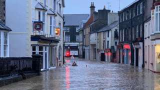 Flooded road at Llanrwst