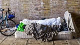 A rough sleeper in the UK
