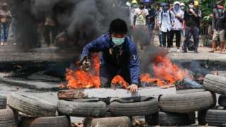 Protesters in Yangon