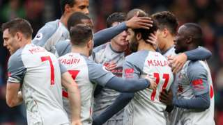 Liverpool celebrate Salah goal