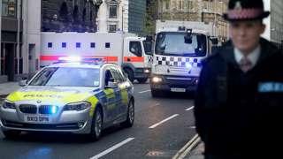 Prison van leaves the Old Bailey in London