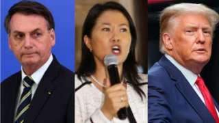 Montagem com fotos de Jair Bolsonaro, Keiko Fujimori e Donald Trump