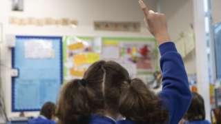 Schoolgirl with her hand up in class (generic)