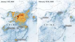 Mapa divulgado pela Nasa revela queda no nível de poluição