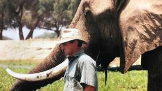Nick Murray with an elephant