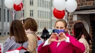 Yulia taking part in a demonstration held in Copenhagen, last year