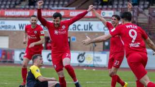 Connah's Quay Nomads' Aron Williams celebrates after scoring his side's second
