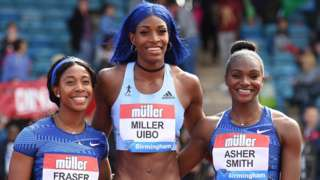 (left to right) Shelly-Ann Fraser, Shaunae Miller-Uibo and Dina Asher-Smith,