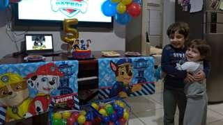 Joaquim durante festa de aniversário