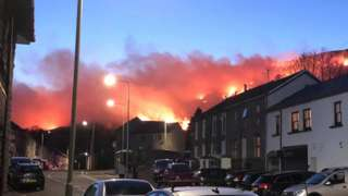 Mountain fire above Ystrad, in the Rhondda Valley, on Monday evening