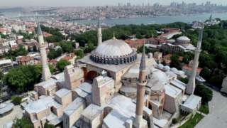 Drone footage of the Hagia Sophia in Istanbul