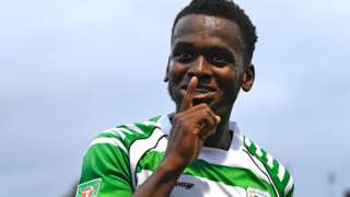 Diallang Jaiyesimi in action for Yeovil Town