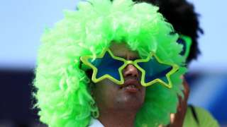 A cricket fan in the stands during the ICC Champions Trophy final at The Oval, London - Sun 18th June