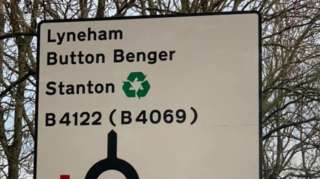The mistake on the sign near Sutton Benger on the M4 in Wiltshire