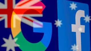 The Google and Facebook logos and the Australian flag are displayed in this illustration photo