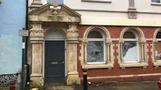A closed bank in Llandysul, Ceredigion