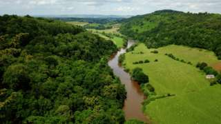 The River Wye, seen from Symonds Yat Rock in Symonds Yat, Herefordshire, near the border with Gloucestershire and Monmouthshire, Wales.