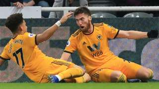 Matt Doherty celebrates scoring against Newcastle