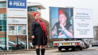 Claire Mercer outside South Yorkshire Police HQ