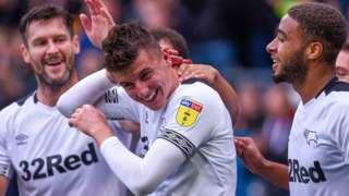 Mason Mount celebrates scoring for Derby against Brentford
