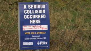 Crash scene sign