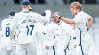 Yorkshire captain Steven Patterson congratulates David Willey