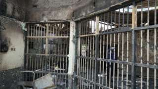 The prison in the aftermath of the fire