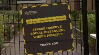 Social distancing sign at university