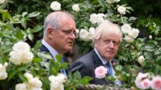 Australian Prime Minister Scott Johnson and Boris Johnson