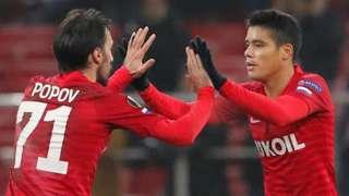 Spartak Moscow's Ivelin Popov celebrates with Lorenzo Melgarejo