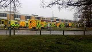Ambulances outside Queen Elizabeth Hospital, King's Lynn