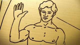 Detalle de la Placa de la Pioneer mostrando al hombre saludando