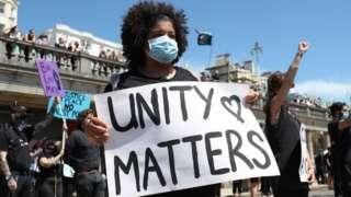 A Black Lives Matter protester in Brighton