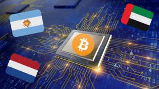 Bitcoin logo with flags of UAE, Netherlands and Argentina