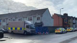Police vans at the fire