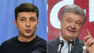 Ukraine rivals Volodymyr Zelensky (L) and Petro Poroshenko, March 2019