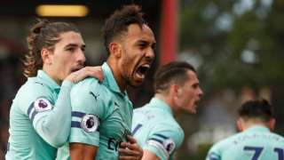 Pierre-Emerick Aubameyang celebrates scoring for Arsenal